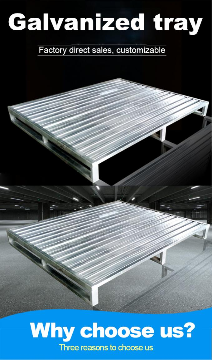 Heavy Duty 4 Way Galvanized Steel Pallet Holding Cargo Repairable ISO9001 Approval