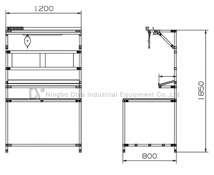 ESD Anti Static Table Top Lean Tube Frame Custom Demension For Assembly Line