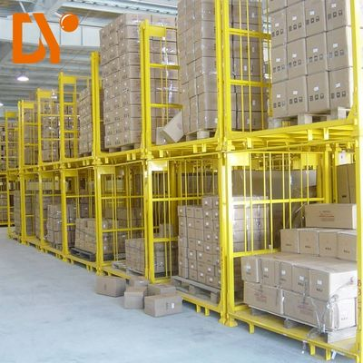 Fixing Frame Stackable Metal Pallets Yellow Color Cold Welded For Warehouse