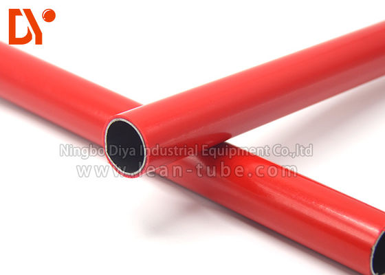 PE Surface Plastic Coated Steel Tube Recycling Red Color 4 Meter Length