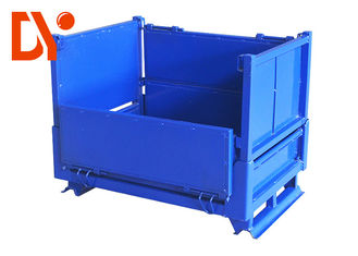 Logistic Metal Pallet Box Blue Color Anti Corrosion For Assembly Line