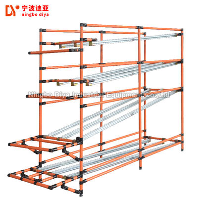 PE Coated FIFO Storage Shelf Yellow Lean Pipe Heavy Duty Pallet Roller Racking