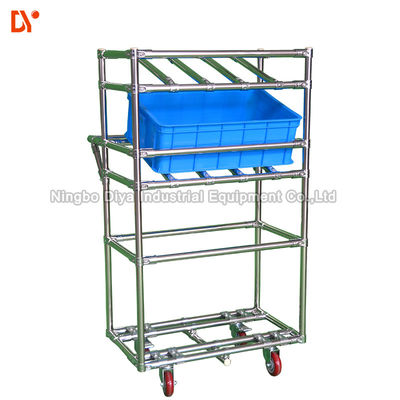 PE Lean Pipe Recycling Tote Cart Turnover Trolley Cold Welded Glossy Surface For Workshop