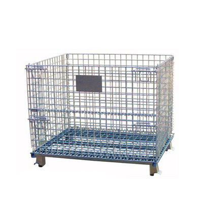 Folding And Stackable Wire Baskets / Wire Mesh Container For Recycling Industry