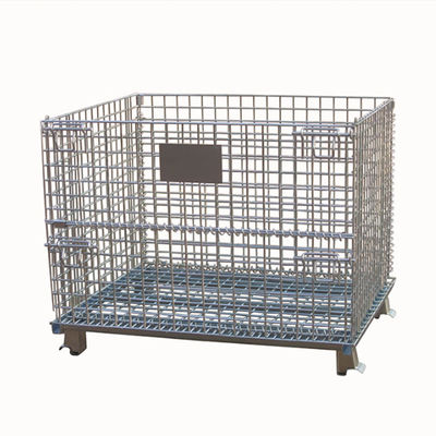 Lockable Foldable Wire Mesh Cage / Heavy Duty Wire Mesh Pallet Cages 50x50mm