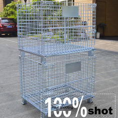 China OEM Customized Welded Steel Foldable Wire Mesh Cage For Warehouse Storage supplier