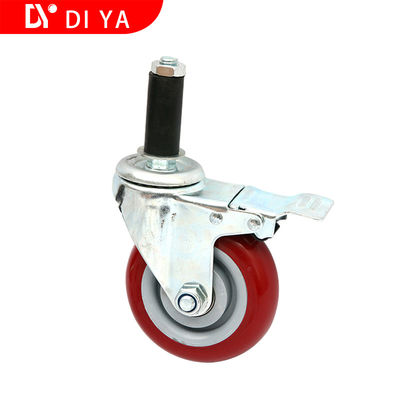Red 3 Inch Rubber Caster Wheels Static - Free / Universal Heavy Duty Caster Wheels