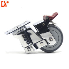 Shock Absorption Industrial 3 Inch Caster Wheels Chromium Plating Swivel Lock