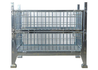 Galvanized Iron Storage Cage Metal Pallet Box Industrial Collapsible Wire Cage