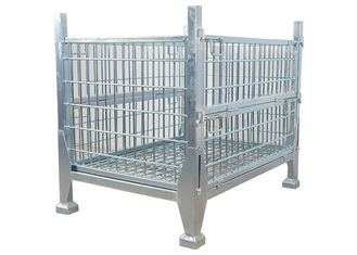 Collapsible Rigid Steel Metal Pallet Box Stackable Wire Mesh Storage Cage